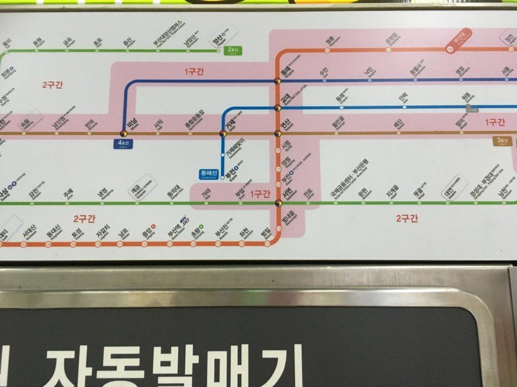 ▲釜山地下鉄区間確認