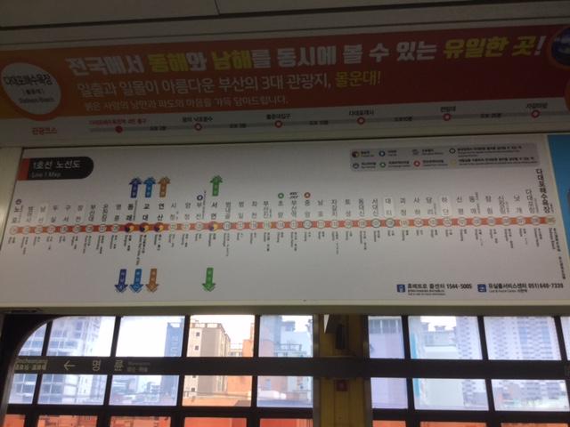 ▲地下鉄内、釜山1号線マップ