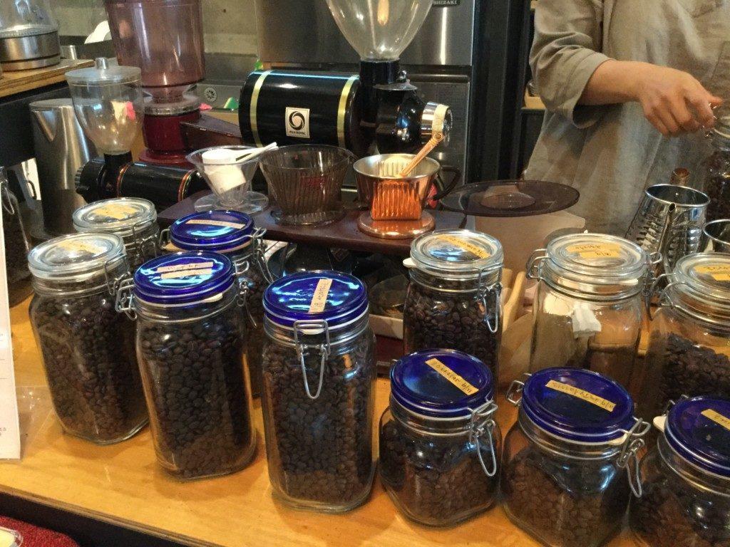 ▲お店で焙煎しているコーヒー