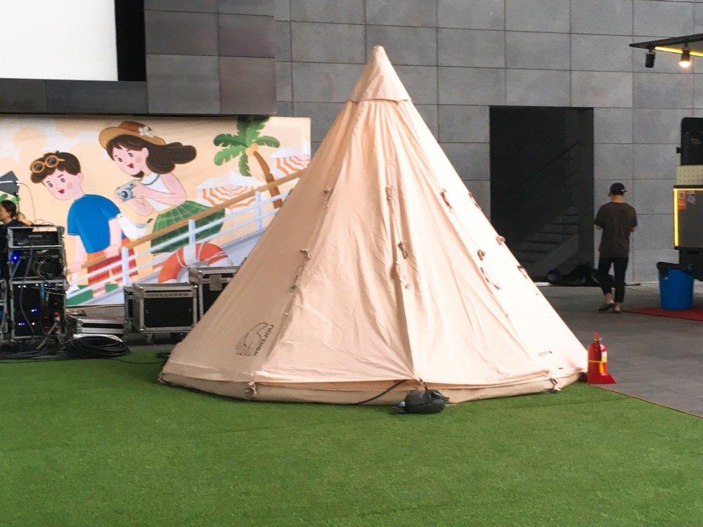 ▲キャンプテント 展示